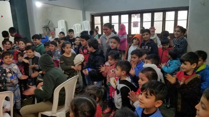 Syrian Refugee Students worshiping at Horizons International's Beirut Lighthouse